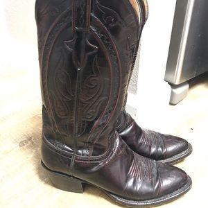 Women's cowboy boots, rare black cherry leather